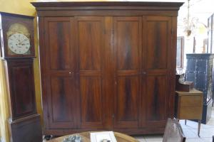 LARGE WARDROBE WITH FOUR DOORS IN GENOA LACQUERED FIR XIXth century