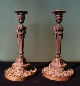 Pair of antique Louis XVI style candlesticks by Etienne Martincourt