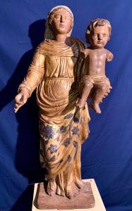 "GREAT LIGNE SCULPTURE POLYCHROMA ""MADONNA WITH CHILD"" - XVI CENTURY"