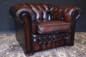 Chesterfield club armchair in tan leather