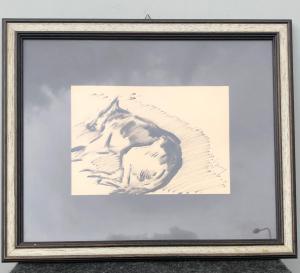 木炭画,描绘了熟睡中的德国牧羊犬吉诺·马佐奇·波洛尼亚(1895-1981)。