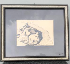 Charcoal drawing depicting a sleeping German Shepherd Dog Gino Marzocchi Bologna (1895-1981).