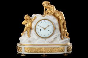 LXVI relógio mármore e bronze