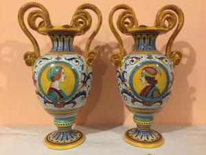 Pair of Deruta majolica amphorae