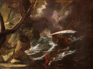 Antonio Stom (Venezia? 1688 – 1734)  Marina in tempesta