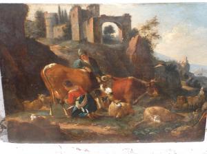 Paesaggio con figure e architetture