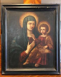 Antico dipinto Madonna col Bambino XVII secolo