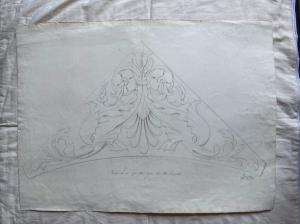Dibujo a lápiz sobre papel que representa una copia de un friso de yeso. Firmado por Giulio Pietra.Bologna.