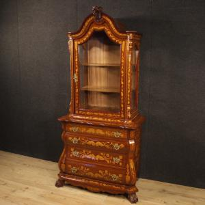 Dutch display cabinet inlaid in walnut, maple and beech