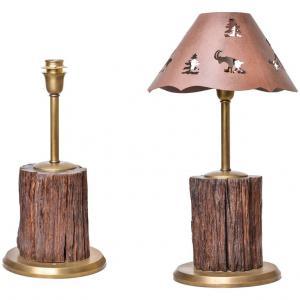 Lampade da tavolo in legno fossile per la casa di montagna