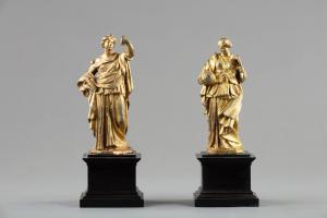 Coppia di bronzi dorati