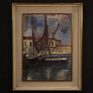 Italienische signierte Gemälde Hafenansicht mit Booten