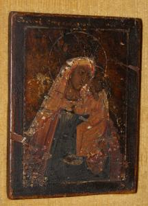 Ancient Russian icon of the 1700s Madonna with child