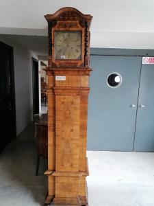 Column clock in walnut and inlaid walnut root