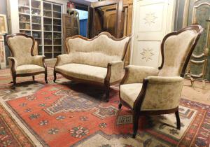 panc89 - salotto XIX secolo, Piemontese, sedie l 70 x h 107, divano cm l 170 x h 110