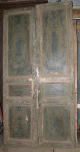 ptl326 лакированная дверь с фигурами, требуется реставрация, изм. см 120 x в 240