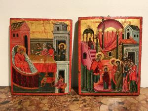 "Pair of raff icons ""Nativity of the Virgin"" and ""Presentation to the Temple of the Virgin"" - lots 2-3"
