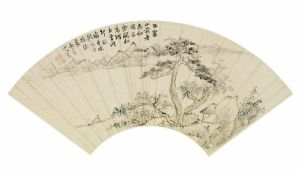 Beautiful landscape on fan leaf signed by Zhang Pengchong