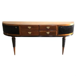 CREDENCE ART DECO CONSOLE WITH ROUNDED CORNERS, SIDE DOORS AND CENTRAL DRAWERS