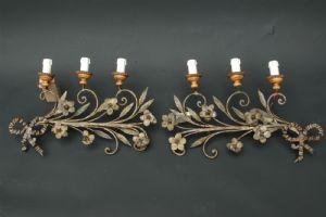 Coppia di appliques in ferro a tre luci XVIII°sec.