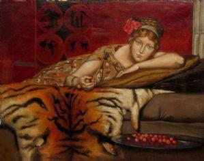 "LA DAMA CON LE CILIEGE-布面油画,签名JF 29-取自SIR LAWRENCE ALMA TADEMA的1873年绘画""樱桃""(Bronrijp 1836-Weisbaden 1912)"