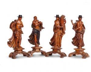 Сказочные резные деревянные фигурки с изображением четырех времен года в Венеции XVIII века