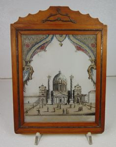 Painting on glass with vintage frame, depicting the church of San Carlo in Vienna. The first 800, Austria