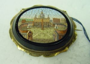 Silver brooch with micro mosaic depicting St. Peter's Square