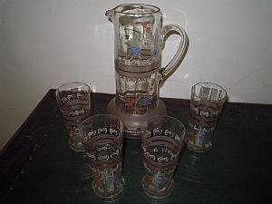 brocca con 4 bicchieri in vetro soffiato