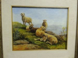 painting by F.Pagliani oil, rural scene with sheep, measuring 30 x 24 cm cardboard