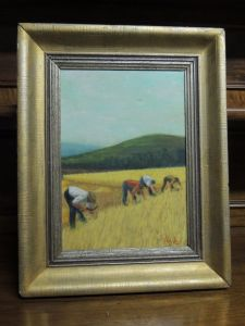 oil painting on wood, MGSilano with the harvest in the corn fields; mis.cm 28 x 39