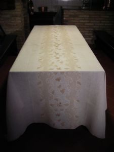 TABLECLOTH EMBROIDERY ARS CANUSINO POINT PRINCESS / RETICELLI / GRAS PUNKT / POINT SHADOW