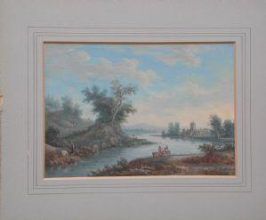ludw Agricola coppia di paesaggi a tempera  su carta con fiume colline Ratisbona  1667-1719.Completi di cornici antiche dorate