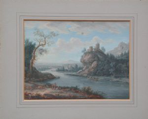 Chistoph Ludwig Agicola    Ratisbona 1667- 1719 coppia di paesaggi a  guache su carta con belle cornici dorate cm. 16.5 x 21.5