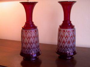 Coppia di vasi in vetro di Murano