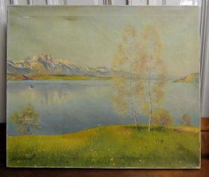 oil painting on canvas, landscape with lake, size 77 x 66 cm,