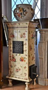 ceramic stove cream background and flowers in bunches sarreguemines