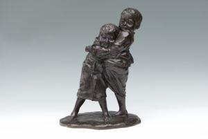 Okimono bambini in bronzo