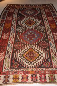 MAGNIFICENT HANDWOVEN KILIM, CAUCASUS, LATE 19TH CENTURY, approx. 297 x 184 cm