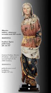 Madonna in legno policromo medievale, Maestro umbro-abruzzese del XIV secolo (h.147 cm.)