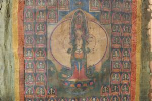 Superb antique Thangka, East-Tibet,18th century, absolute rare item! Silk framed