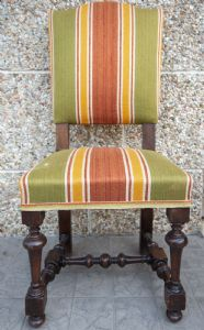 6 19th century beech spool chairs with high back upholstered