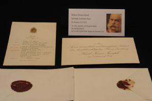 Kaiser Franz Joseph I. von Österreich, eigenhändig bezeichnetes Original-Kuvert, doppelt gesiegelt mit Dinerkarte 18.9.1912