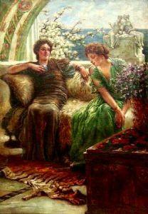 """对话-布面油画-取材于1902年劳伦斯·阿尔玛·塔德玛爵士(SIR LAWRENCE ALMA TADEMA)的绘画""""有害的信心""""(Bronrijp 1836-威斯巴登1912)"""