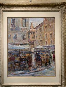 ISE LEBRECHT, Verona 1881 - 1945,  Piazza delle Erbe a Verona sotto la neve
