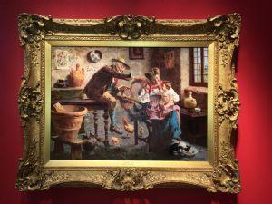 EUGENIO ZAMPIGHI (MODENA 1859-Maranello 1944) Außergewöhnliches Ölgemälde auf Leinwand mit zeitgleich vergoldetem Rahmen