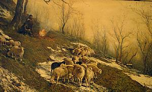 Painting depicting sheep grazing