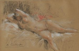 Antoine CALBET (1860 - 1944) woman lying naked on a bed