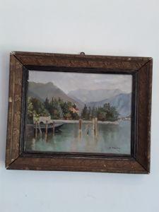 G bonacina veduta del lago di como a firma 1913 con lucia garanzia termini di legge