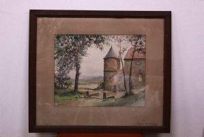 Watercolor framework on paper with landscape with glass and frame watercolor art